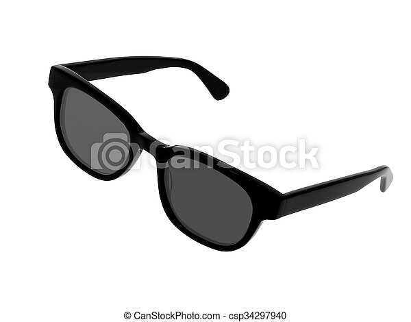 Black sunglasses isolated on a white background - csp34297940