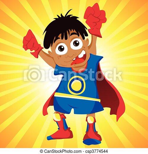 Black Super hero Boy. - csp3774544
