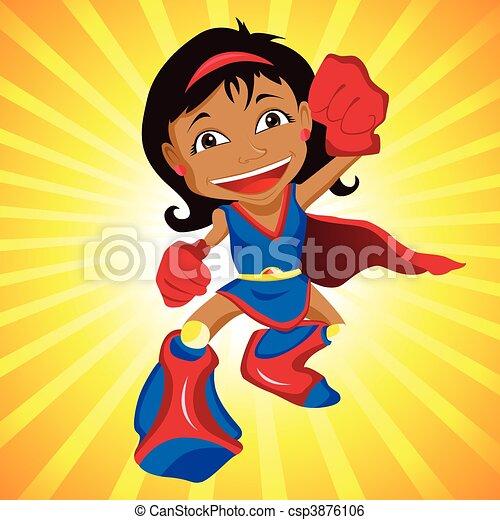 Black Super hero Girl.  - csp3876106