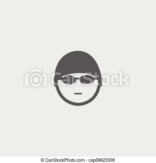 Black swimmer face icon with bonnet, glasses - csp69623308