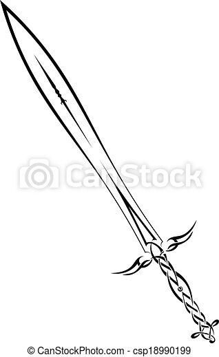 Black sword on a white background - csp18990199
