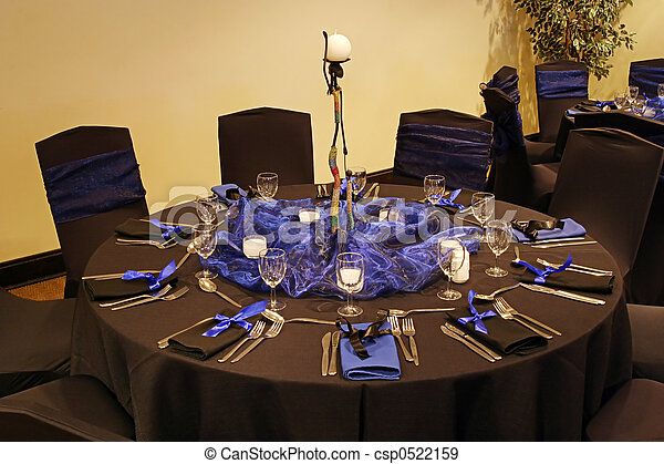 Black table setting - csp0522159 & Black table setting in a african theme.