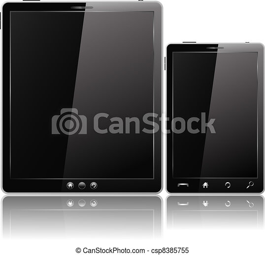 Black Tablet PC and Mobile Phone - csp8385755
