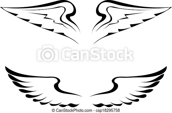 Black tattoo wings on a white background - csp18295758