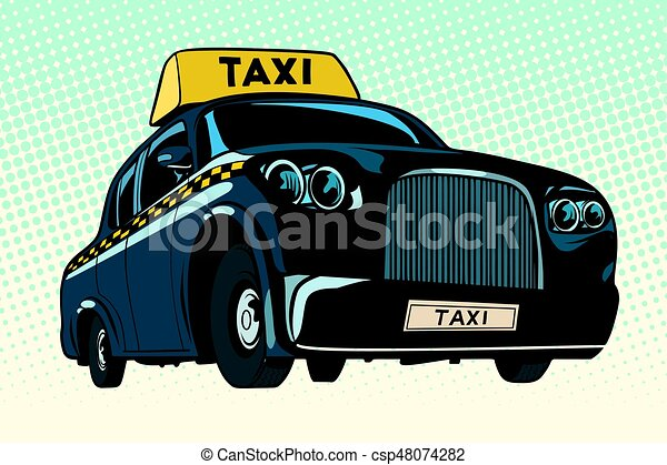 Black taxi with a yellow sign - csp48074282