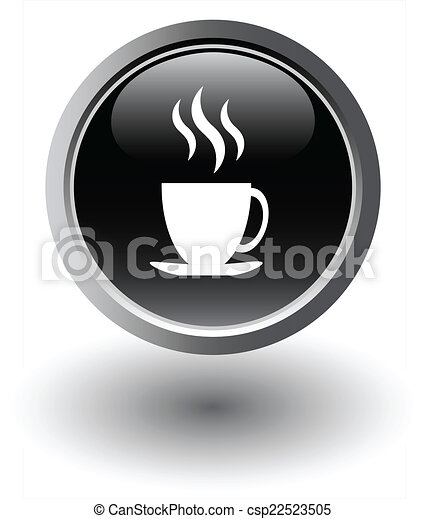 Black tea icon - web button, vector - csp22523505