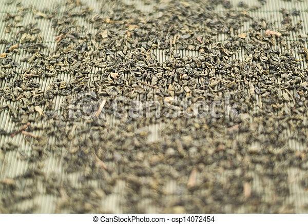 Black tea over bamboo mat - csp14072454