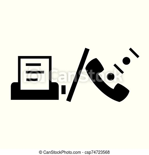 black telephone and fax symbol for banner general design print and websites illustration vector can stock photo