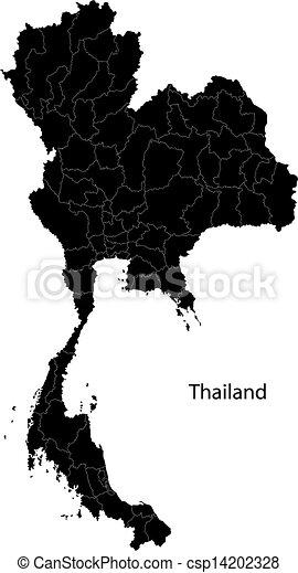 Black Thailand map - csp14202328