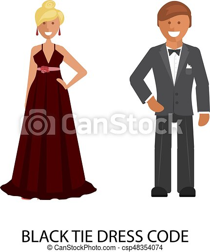 Black Tie Dress Code Man And Woman In Smart Casual Style Suits