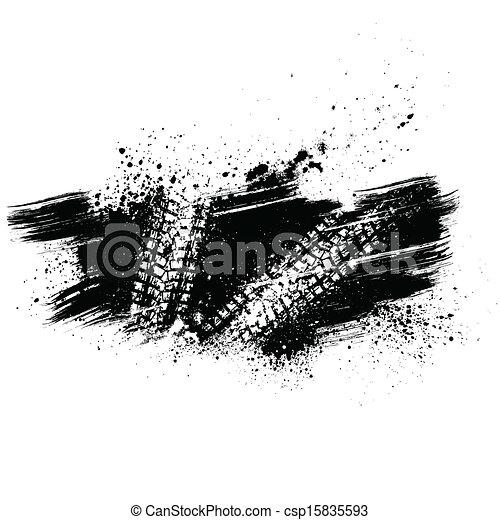 Black tire track background - csp15835593
