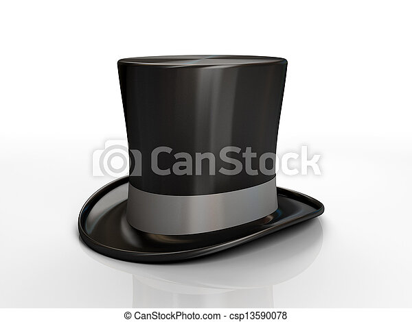 Black top hat isolated on white background - csp13590078