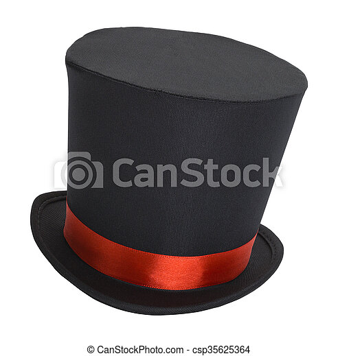 07ce9a6c883 Black top hat. Top hat with red ribbon isolated on white.