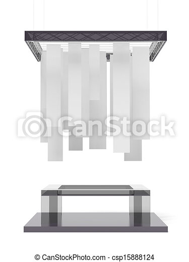 Exhibition Booth Icon : Black trade exhibition booth isolated on a white background