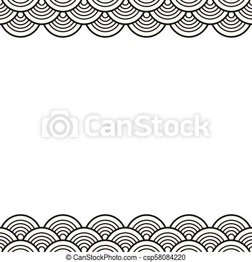 Black Traditional Wave Japanese Chinese Border Black Traditional