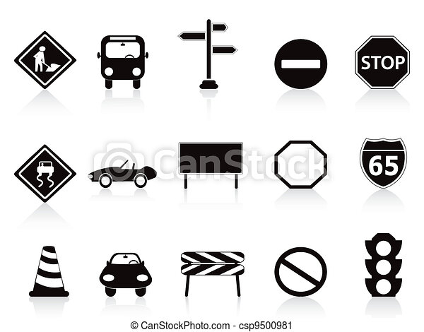 Black Traffic Sign Icons Set Vector