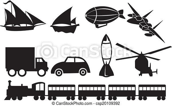 Black Transportation Icons Against White Background - csp20109392