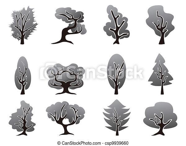 black tree icons set - csp9939660