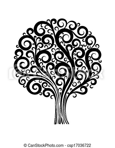 black tree in a flower design with swirls and flourishes on a white background - csp17036722