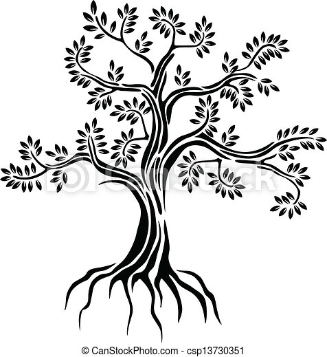 black tree silhouette isolated - csp13730351