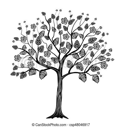 Black tree with flowers - csp48046917