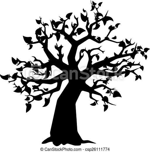 Black tree with leaves silhouette on white - csp26111774