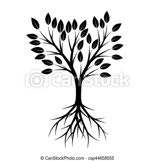 Black Tree with Roots. Vector Illustration. - csp44658555