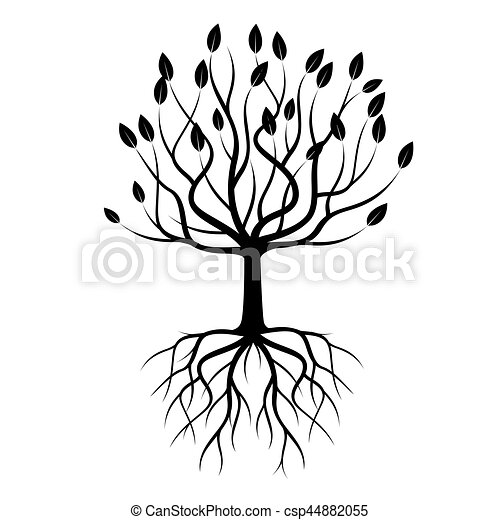 Black Tree with Roots. Vector Illustration. - csp44882055