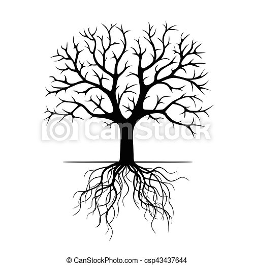 Black Tree with Roots. Vector Illustration. - csp43437644