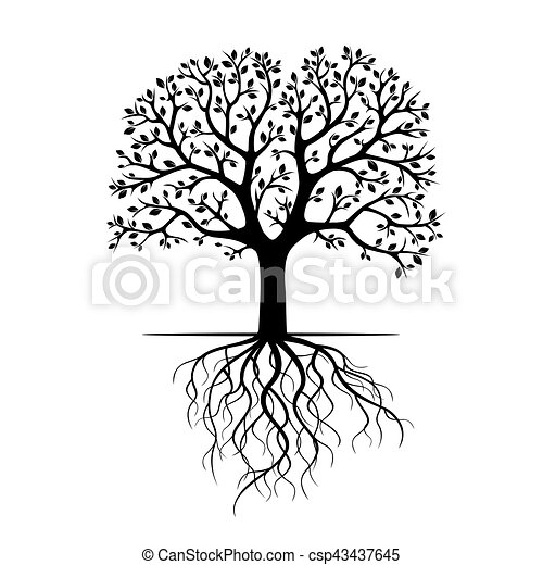 Black Tree with Roots. Vector Illustration. - csp43437645