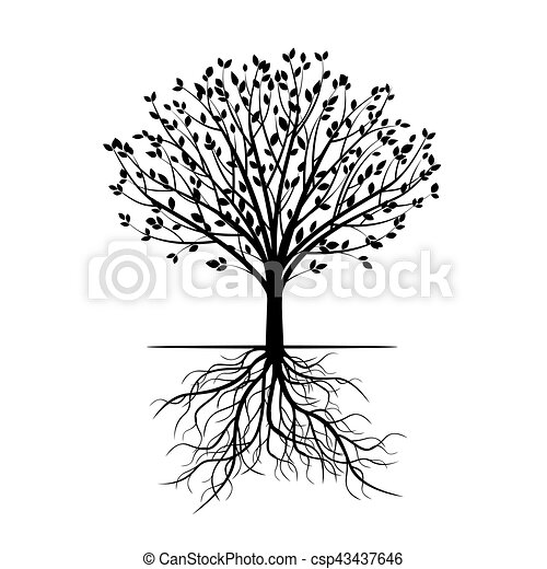 Black Tree with Roots. Vector Illustration. - csp43437646