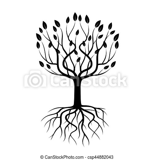 Black Tree with Roots. Vector Illustration. - csp44882043