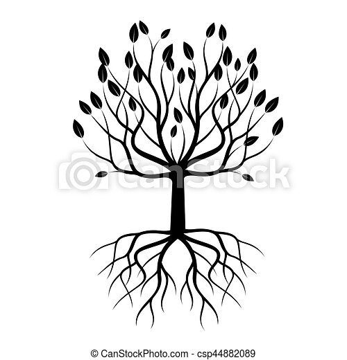 Black Tree with Roots. Vector Illustration. - csp44882089