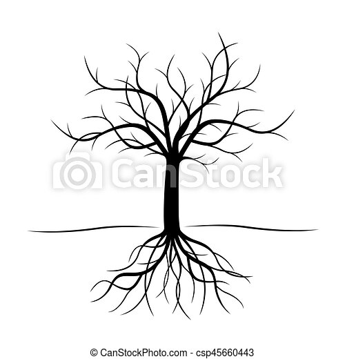 Black Tree with roots. Vector Illustration. - csp45660443