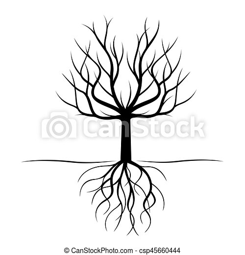 Black Tree with roots. Vector Illustration. - csp45660444