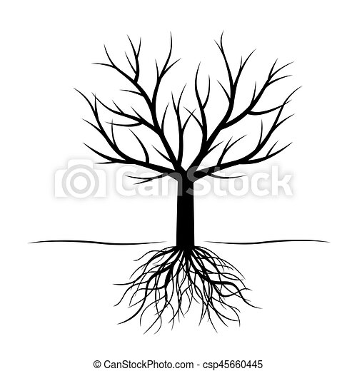 Black Tree with roots. Vector Illustration. - csp45660445