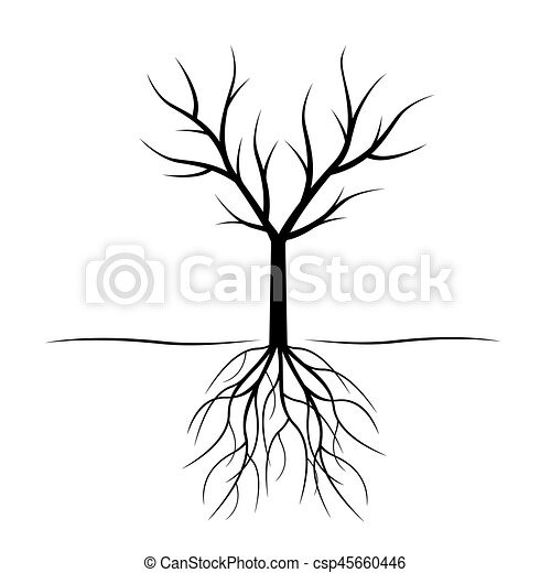 Black Tree with roots. Vector Illustration. - csp45660446