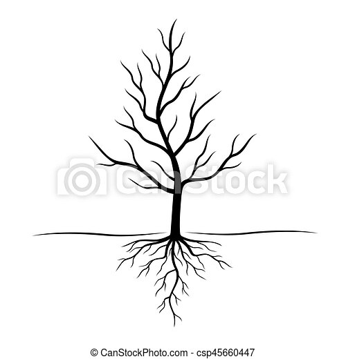 Black Tree with roots. Vector Illustration. - csp45660447