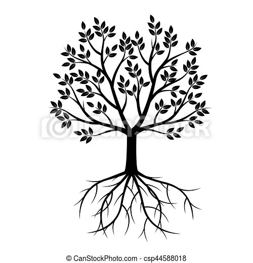 Black Tree with Roots. Vector Illustration. - csp44588018