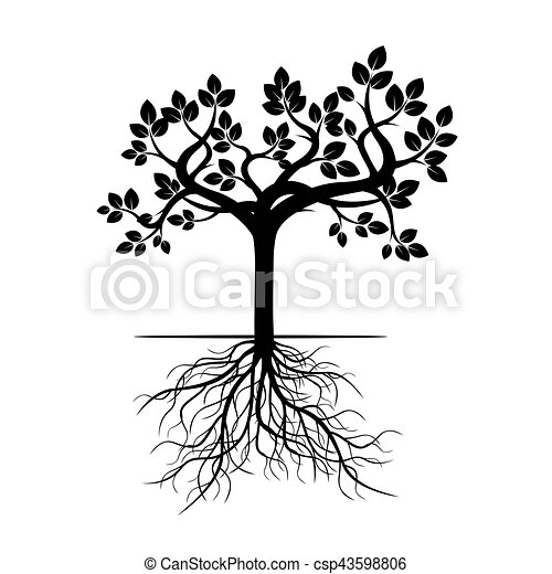 Black Tree with Roots. Vector Illustration. - csp43598806