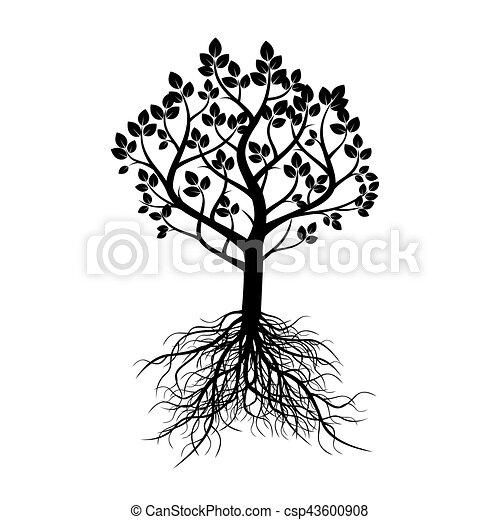 Black Tree with Roots. Vector Illustration. - csp43600908
