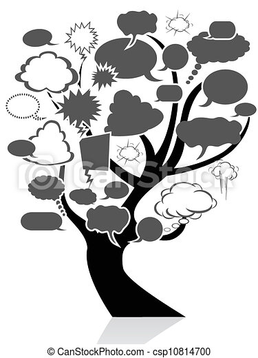 black tree with speech bubble - csp10814700