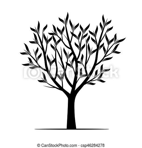 black trees with leafs vector illustration vectors illustration rh canstockphoto com vector treasure hunt vector tree silhouette