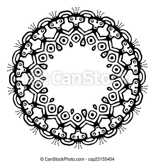 Black tribal frame in ethnic style, vector - csp23155404