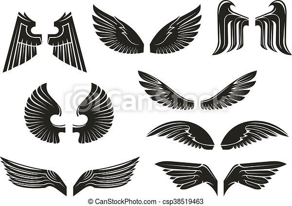 5c277b7ff Black tribal heraldic wings set. Black heraldic wings set in tribal ...