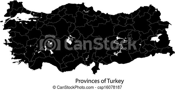 Black turkey map Map of administrative divisions of turkey vector