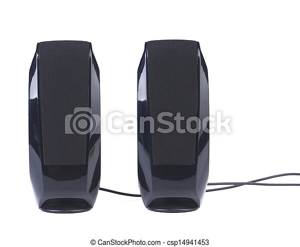 Black two speaker isolated on white background - csp14941453