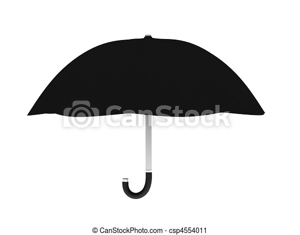 Line Art Umbrella : Black umbrella isolated on white background. high quality 3d