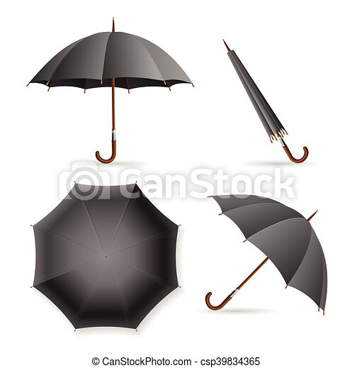 Black Umbrella Template Set Vector Black Umbrella Template  Clip