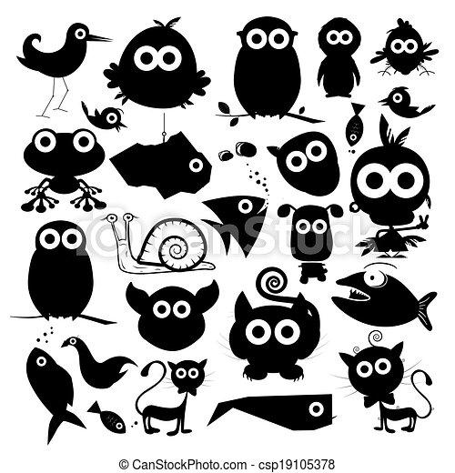Black Vector Animals Silhouette Set - csp19105378